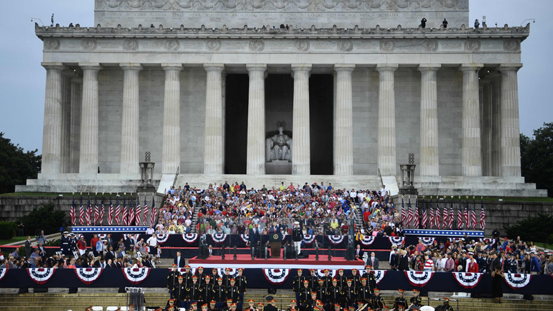 """US President Donald Trump speaks during the  """"Salute to America"""" Fourth of July event at the Lincoln Memorial in Washington, DC on Thursday. - AFP"""