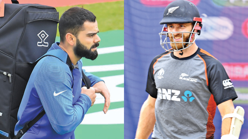 Rival skippers Virat Kohli of India and Kane Williamson of New Zealand prepare for Tuesday's big game at Old Trafford. - AFP