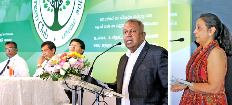 Minister of Finance Mangala Samaraweera and acting UN Resident Coordinator Razia Pendse (Right) addressing the event. Picture by Saman Sri Wedage