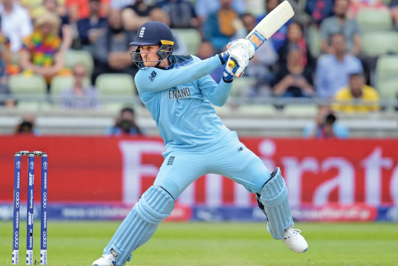 England's Jason Roy on the attack as he scores runs on the off side against Australia in the second World Cup semi-final at Edgbaston on Thursday. – AFP