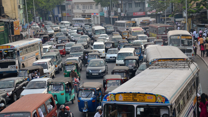 A congested Colombo road.