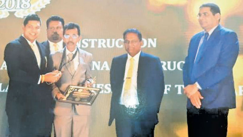 Managing Director of Abeywardane Constructions receives the award