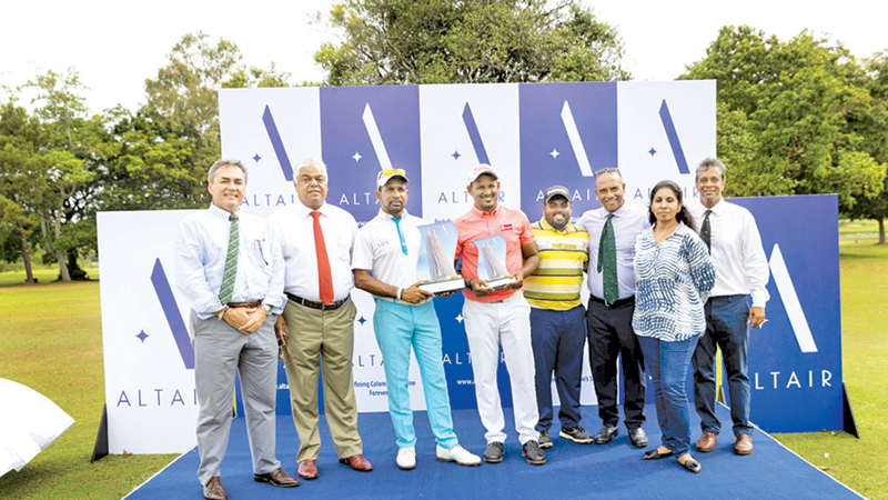 Winner Anura Rohana (third from left) with first runner-up N Thangaraja (fourth from left) and second runner-up Mithun Perera (third from left). RCGC Vice Captain Navin de Silva, Pradeep Moraes Director Indocean Developers, RCGC Captain Shiran Fernando, Mumtaz Niyasdeen Head of Business Indocean Developers and RCGC Sanjiv Vairavanathan are also present.