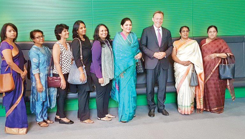The delegation from Sri Lanka with an official in Germany.