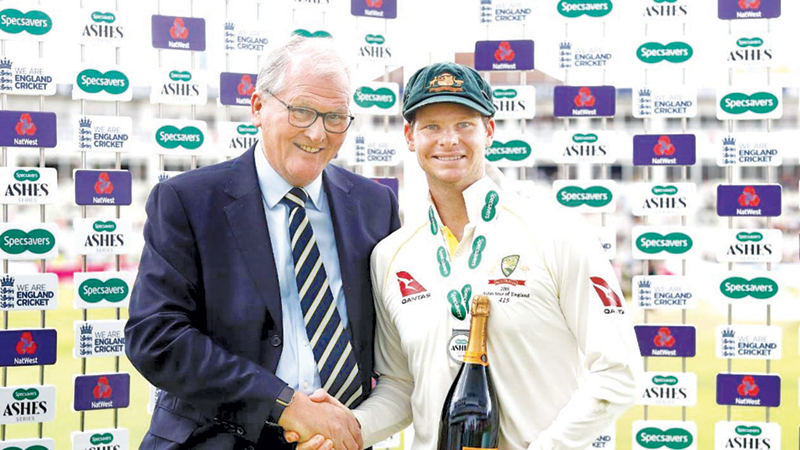 Steve Smith of Australia is presented with the player of the match award during day five of the Ashes Test between England and Australia at Edgbaston.