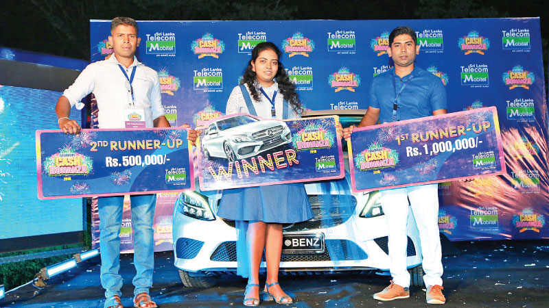 Lucky winners of Mobitel Cash Bonanza M.M. Maduni Malika Paris Karunarathna of Katana, who drove away with a brand new Mercedes Benz as the winner. In second place, H.N.P. Ashen Kularathna of Pamunugama was awarded Rs. 1,000,000/- in cash, while S.M.M. Pradeep Senadheera of Buttrala walked away with Rs. 500,000/- as cash prize for third place.