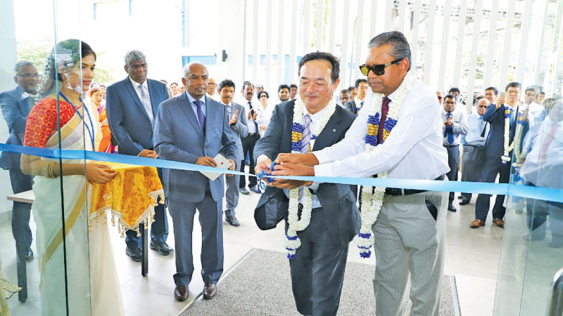 Inauguration of The Tokyo Cement Centre by Mitsuo Ono, Executive Officer of UBE Industries Japan and Dr. Harsha Cabral PC, Chairman, of Tokyo Cement Company.
