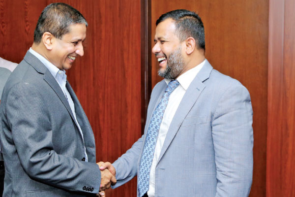 High Commissioner of Bangladesh in Colombo Riaz Hamidullah meets Minister Rishad Bathiudeen in Colombo.