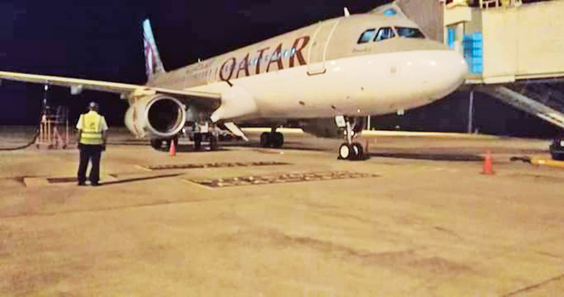 The Qatar Airways QR-662 plane. Picture by Rahul Samantha Hettiarachchi, Ambalanthota Group Corr.