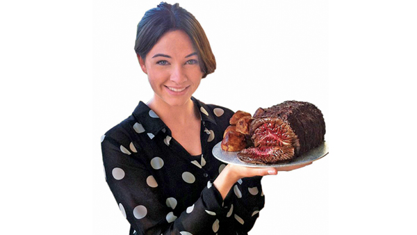 Louise Caola with her roast beef cake