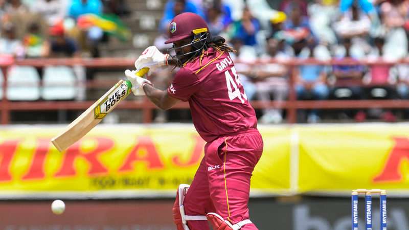 Chris Gayle of West Indies gets off the mark during the 1st ODI match between West Indies and India at Guyana National Stadium in Providence, Guyana, on Thursday. - AFP