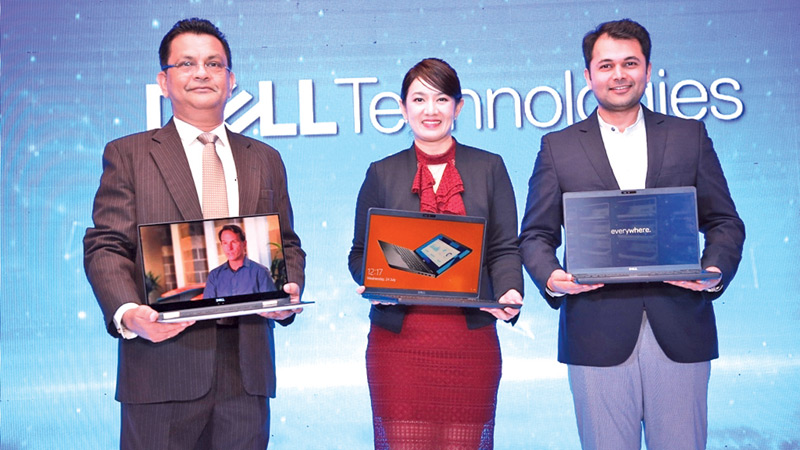 Dell Technologies Sri Lanka and Maldives Country Manager Chrishan Fernando, Dell Technologies Clients Solution Group Asia Emerging Market Region Director Lertluk Kunlasutti and Dell Technologies Senior Advisor Product Marketing Ritesh Agarwal introducing the new products