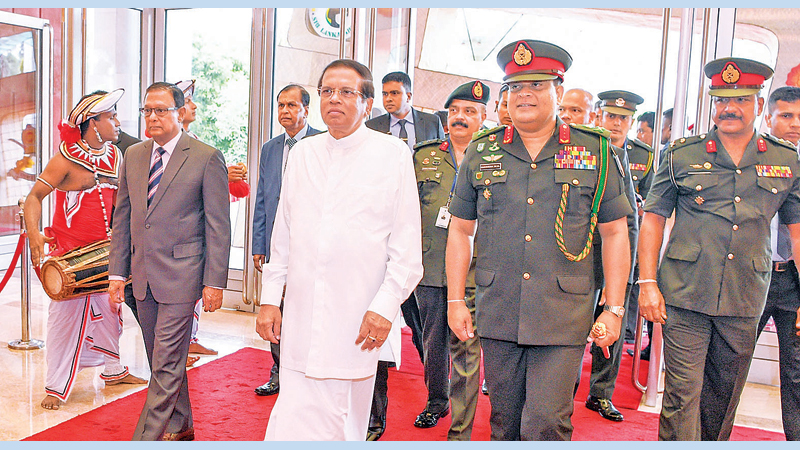 President Maithripala Sirisena inaugurated the 'Colombo Defence Seminar - 2019, at the BMICH yesterday on  'Evolving Military Excellence in the Contemporary Security Landscape'. Picture shows, the President being conducted to the venue by Defence Secretary General (Retd.) Shantha Kottegoda, Army Commander Lt Gen Shavendra Silva and Army Chief of Staff Major General Sathyapriya  Liyanage. Picture by Sudath Silva