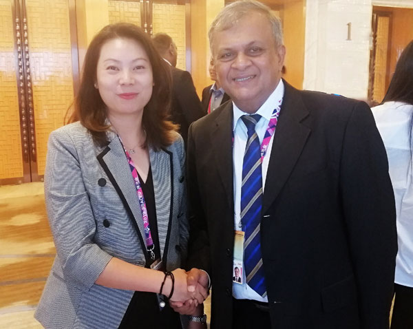 Kosala Wickramanayake, President, International Business Council meeting with M. Zhao, Director International of CCPIT, Sichuan Sub Council recently in China.