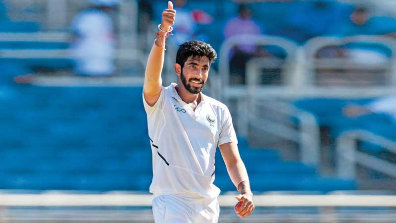 Jasprit Bumrah of India celebrates taking 5 wickets including a hat-trick during day two of the 2nd Test between West Indies and India at Sabina Park, Kingston, Jamaica, on August 31