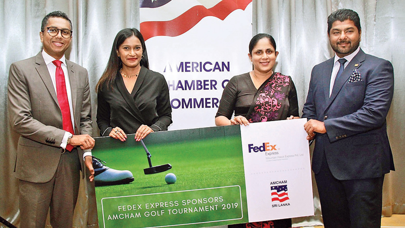 Sponsorship presentation: From left: Presantha Jayamaha, President, AMCHAM Sri Lanka, Nuzreth Jalaldeen, Executive Director, AMCHAM Sri Lanka, Chamila Bandara, Director/CEO, Mountain Hawk Express (Pvt) Ltd, Sanjeeva Abeygoonewardena, Executive Director, Mountain Hawk Express (Pvt) Ltd.
