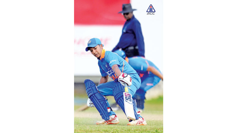 Arjun Azad of India U19 during the match against Kuwait U19 at CCC grounds yesterday.
