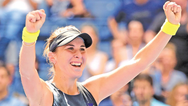 Belinda Bencic of Switzerland celebrates after winning her Women's Singles quarterfinal match against Donna Vekic of Croatia on day ten of the 2019 US Open at the USTA Billie Jean King National Tennis Center on September 04. -AFP