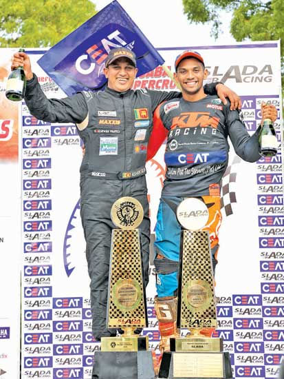 Best Driver of the Gajaba Supercross Ashan Silva (on left) and best rider Jacques Gunawardana with their trophies. Picture Rukmal Gamage