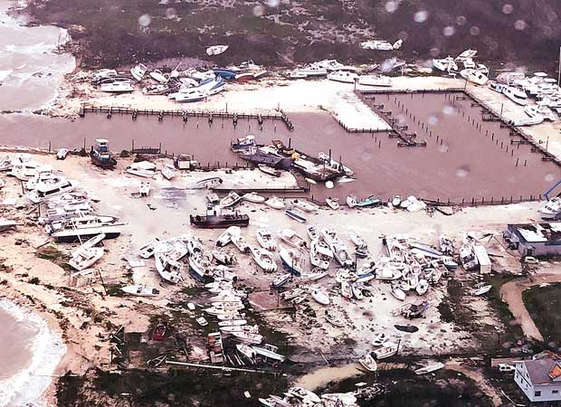 An aerial view shows the devastation after hurricane Dorian hit the Bahamas. Here, dozens of damaged boats at the Marsh Harbour Boatyards in Marsh Harbour, Bahamas.