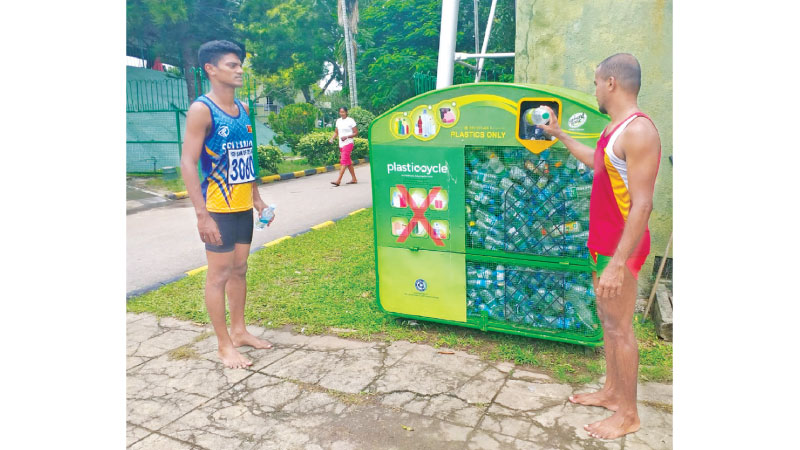 One of the five Plasticcycle bins placed at Sugathadasa Outdoor Stadium.