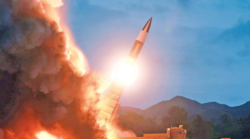 """North Korea launching an """"unidentified projectile"""" on Tuesday morning from the Kaechon area in South Pyongan province."""