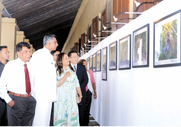 Minister with the Chinese Ambassador, Cheng Xueyuan viewing the photos