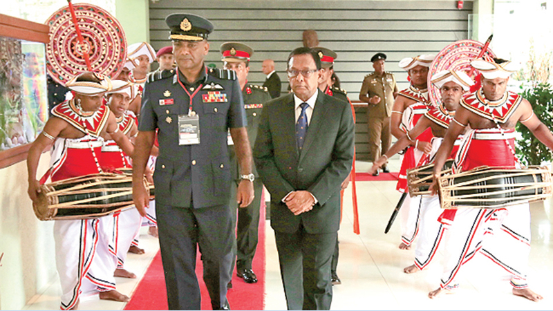 Defence Secretary Gen. S.H.S. Kottegoda is accompanied by KDU Vice Chancellor Air Vice Marshal H.M.S.K.B. Kotakadeniya to the conference.