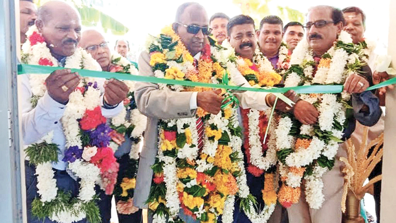 Sammanthurai Electorate United National Party Chief Organiser M.A. Hassan Ali opening the building. Picture by I.L.M. Rizan, Addalaichenai Central Corr.