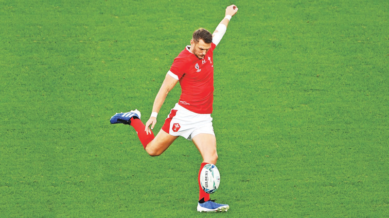Wales' fly-half Dan Biggar kicks a drop goal during the 2019 Rugby World Cup Pool D match against Australia at the Tokyo Stadium on Sunday. – AFP