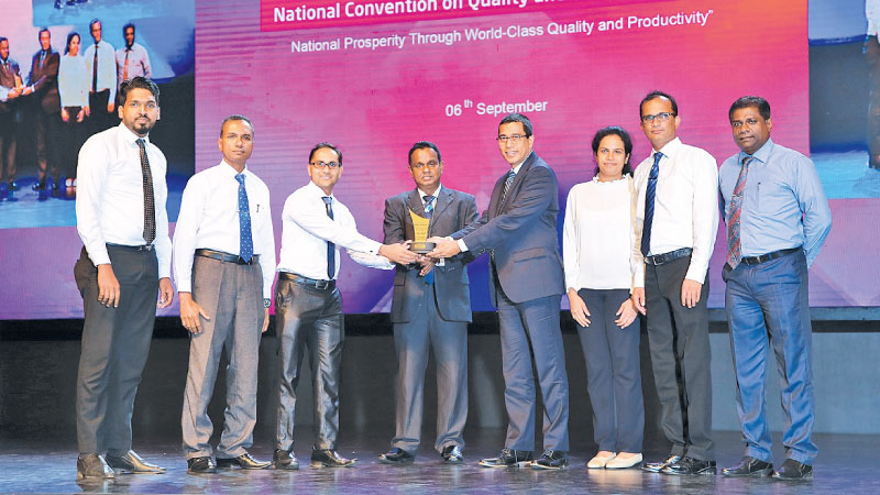 Keells Food Products PLC team receives the award at the National Convection of Quality and Productivity 2019