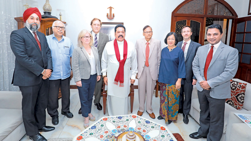 Opposition Leader Mahinda Rajapaksa with the high-level delegation of the NDI  and IRI yesterday.