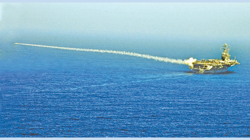 A RIM-7P NATO Sea Sparrow missile launched from the USS Abraham Lincoln during an exercise on August 13, 2007. (File photo)