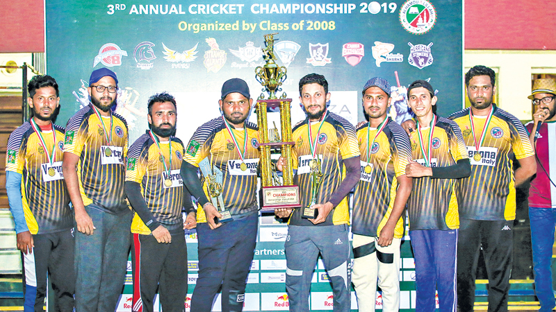 Champion Strange Giants team captain Mohamed Usman and Members of the team with champion award.