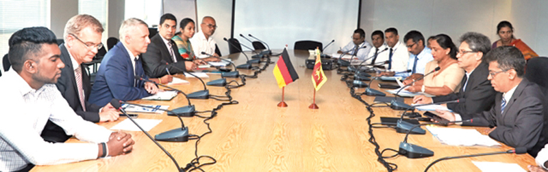 The delegation led by Jorn Rohde Ambassador Germany to Sri Lanka with BOI officials