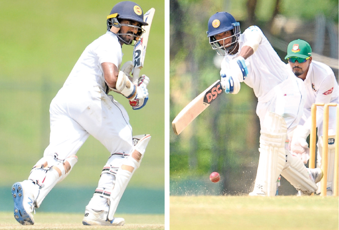 Sri Lanka A openers Pathum Nissanka (Right) and Sangeeth Cooray shared a double century stand on the fourth and final day of the second unofficial test against Bangladesh A at Hambantota yesterday.