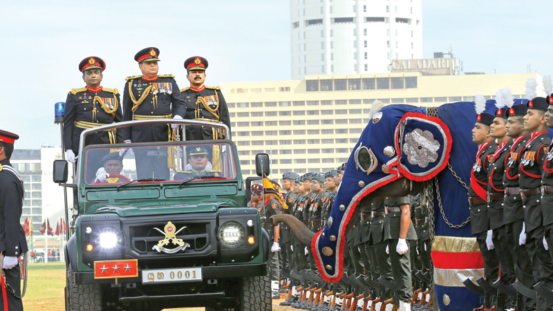 The Sri Lanka Army yesterday celebrated  its 70th anniversary with a ceremonial parade at Galle Face. Army Commander Lt. Gen. Shavendra Silva inspecting the parade. Chief of Army Staff Maj. Gen. Sathapriya Liyanage and senior military officials were present. Picture by Rukmal Gamage