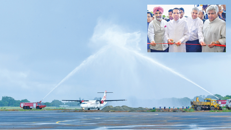 The Jaffna International Airport was declared open by President Maithripala Sirisena in Palaly yesterday. Prime Minister Ranil Wickremesignhe, Transport and Civil Aviation Minister Arjuna Ranatunga, High Commissioner of India to Sri Lanka Taranjit Singh Sandhu and Northern Province Governor Dr Suren Raghavan graced the inaugural event. Alliance Air, a subsidiary of Air India which arrived in Jaffna from Chennai, was accorded a ceremonial welcome. After 41 years it was the first ever international passenger