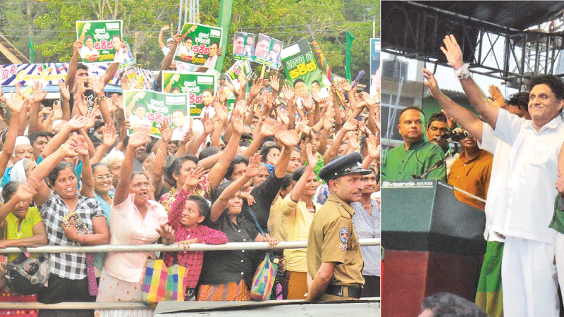 New Democratic Front (NDF) Presidential candidate Minister Sajith Premadasa addressing a meeting at Thambuttegama. Minister Navin Dissanayake was also present. Pictures by Thambuttegama Special W. Pradeep
