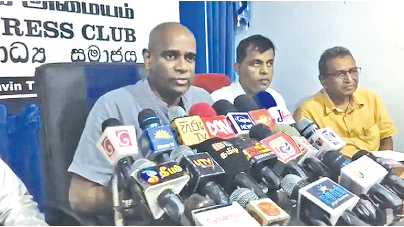 National People's Movement Presidential candidate Mahesh Senanayake speaks at the media conference in Jaffna on Wednesday.