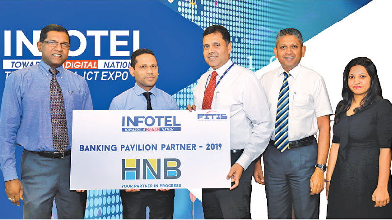 Aruna Alwis (CEO FITIS), M. F. Sheriff (Chairman Main Organizing Committee INFOTEL 2019), Sanjay Wijemanne (Deputy General Manager Retail Banking – Hatton National Bank PLC), Supun Dias (Head of Business Development - Hatton National Bank PLC), Nethmi  Gamage (Business Development Executive - Hatton National Bank PLC)