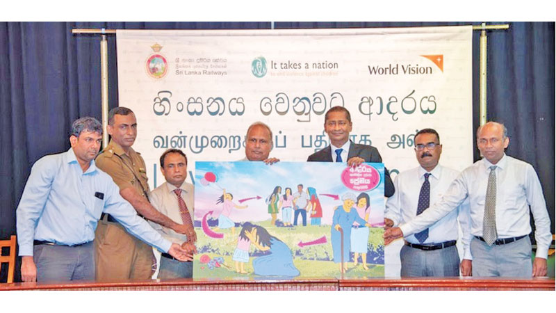 Sri Lanka Railway and World Vision officials at the launch