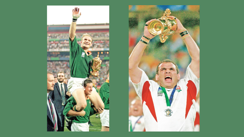 South Africa Victory: South African captain Francois Pienaar celebrates their win in 1995.-England Victory: Martin Johnson holds aloft the William Webb Ellis trophy in 2003.