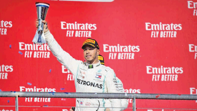 Mercedes AMG Petronas Motorsport driver Lewis Hamilton (44) of Great Britain celebrates winning his sixth world championship at the United States Grand Prix at Circuit of the Americas.
