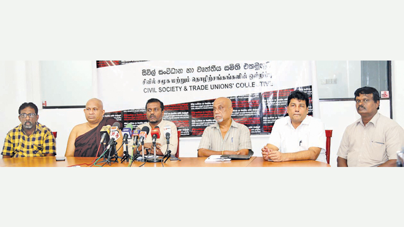 The media briefing by the Civil Society and Trade Union Collective. Picture by Rukmal Gamage