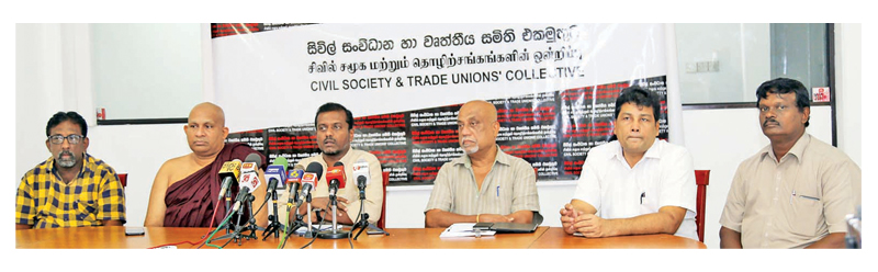 The media briefing held at the Civil Society and Trade Union Collective (CSTC) office in Rajagiriya. Picture by Rukmal Gamage