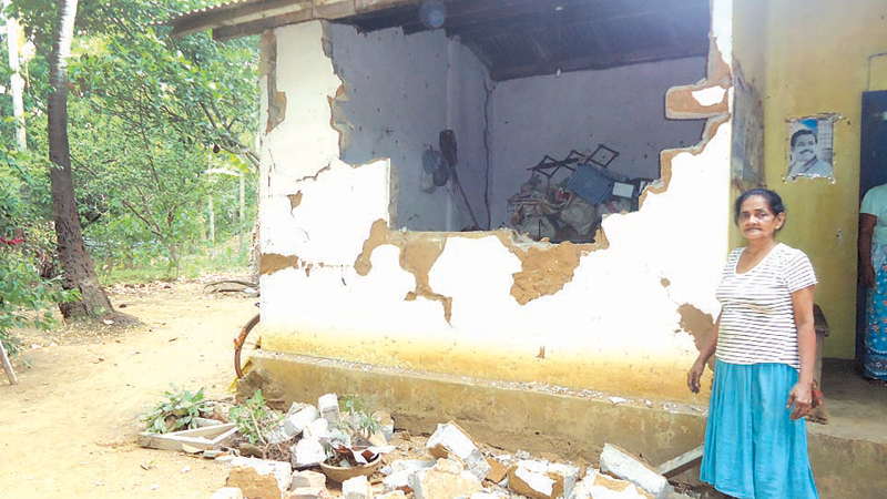 A house in Welgala which was damaged by a wild elephant.