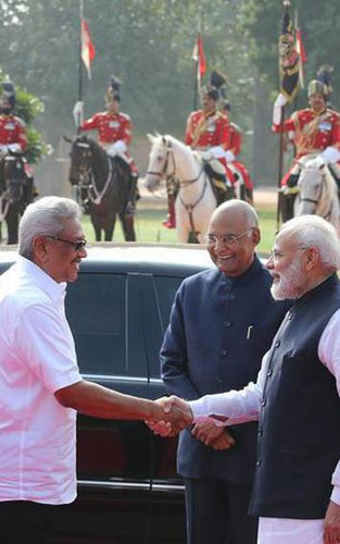 Sri Lankan President Gotabaya Rajapaksa being welcomed by President Ram  Nath Kovind and Prime Minister Narendra Modi before the ceremonial  welcome at Rashtrapati Bhawan in New Delhi on November 29, 2019. -  KAMAL NARANG