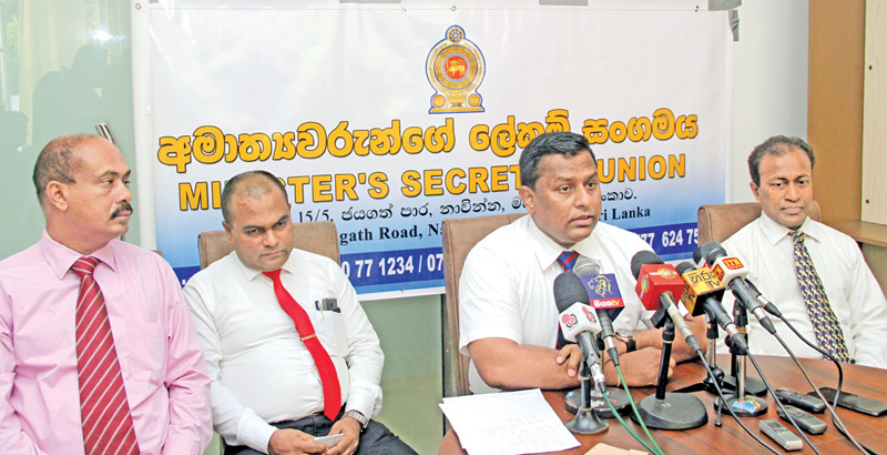 The media conference of the Ministers' Secretaries' Union. Picture by Kelum Liyanage