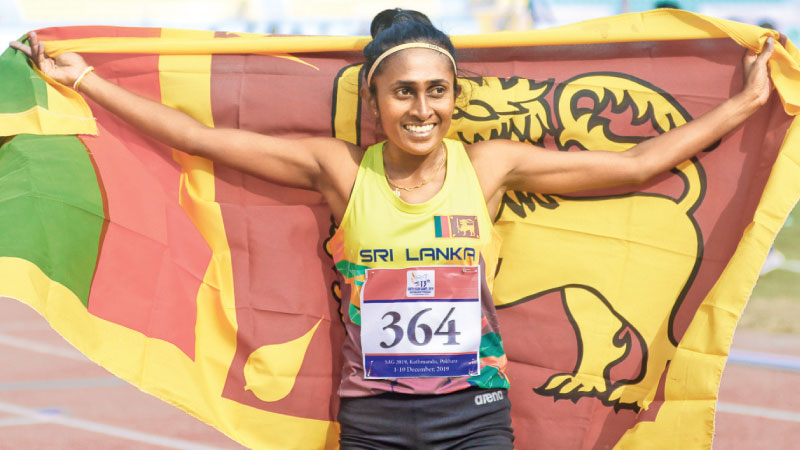 Nilani Rathnayake in a jubilant mood after winning the 1500 metres event